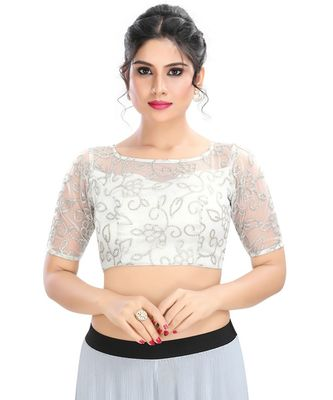 Women's Silver Net Readymade Padded Saree Blouse
