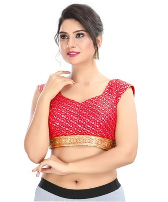 Women's Red Cotton Silk Readymade Padded Saree Blouse