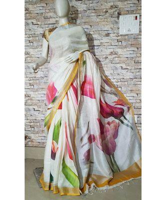 White Floral Print Linen Saree