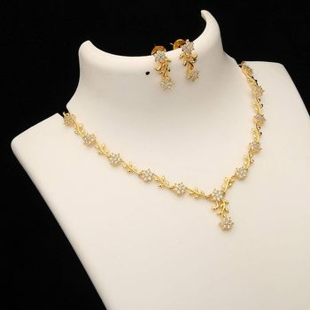 Gold stone necklace-sets