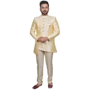 Yellow plain raw silk sherwani