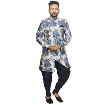 Blue plain silk blend sherwani