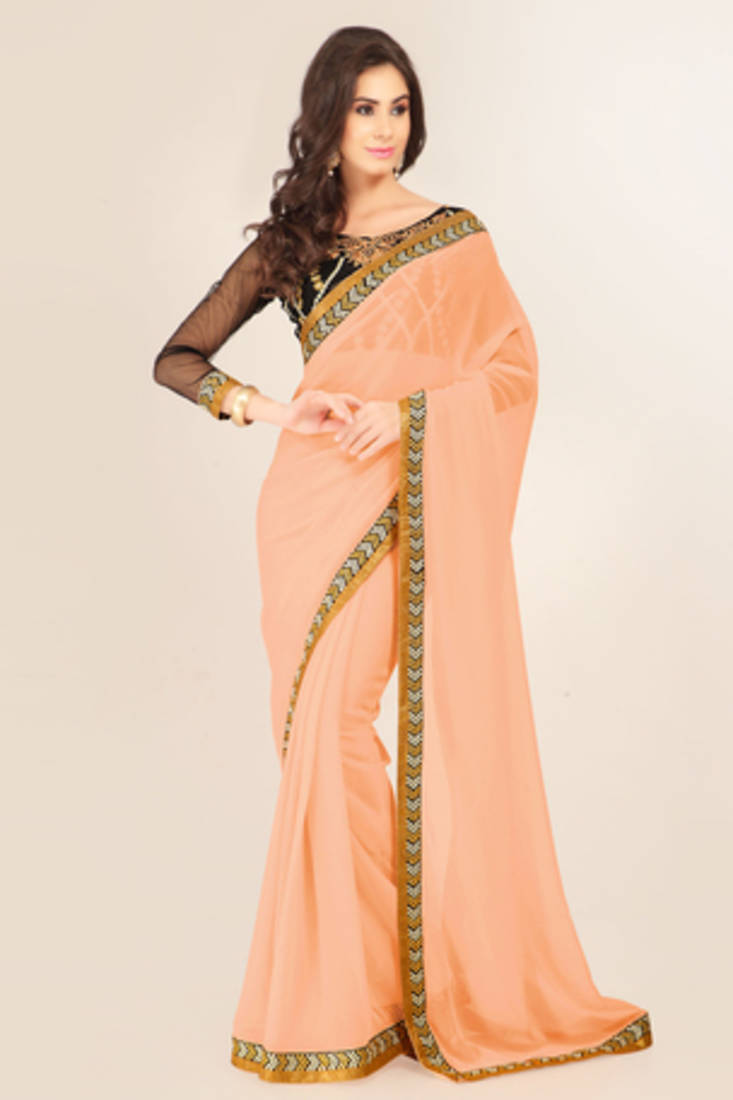 Buy Peach Plain Georgette Saree With Blouse Online