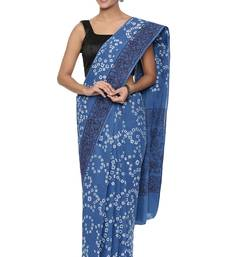 CLASSICATE from the house of The Chennai Silks Women's  blue Batik Printed Sungudi Cotton Saree