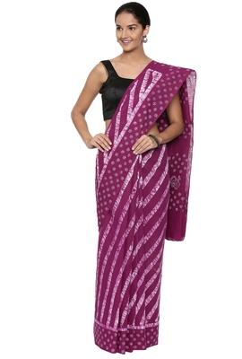 CLASSICATE from the house of The Chennai Silks Women's  multicolor Batik Printed Sungudi Cotton Saree