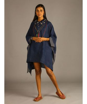 blue linen kaftan with cowl neck