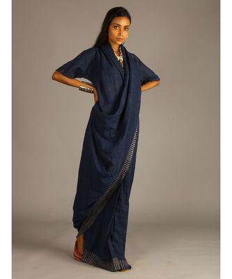 blue linen block printed drape dress