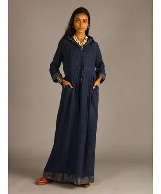 blue linen maxi front open dress