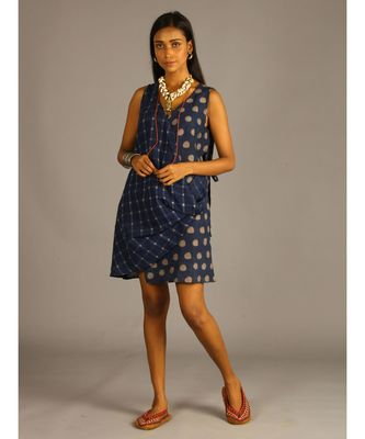 blue linen block printed angrakha top