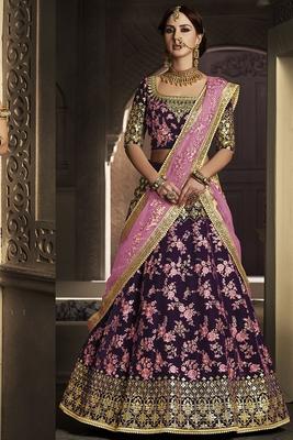 Pure Micro Velvet Wedding Lehenga In Purple With Stone Work