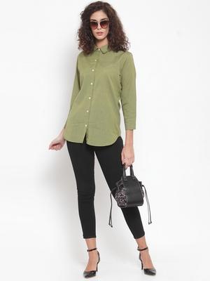 Green Plain Cotton Tops