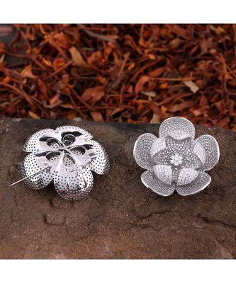 silver flower design high quality cubic zirconia brooch cum pendant