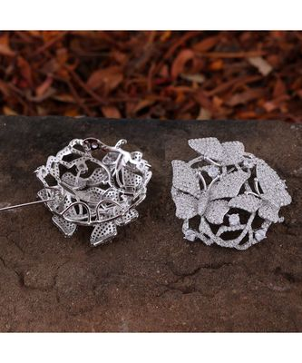silver butterfly design high quality cubic zirconia brooch cum pendant