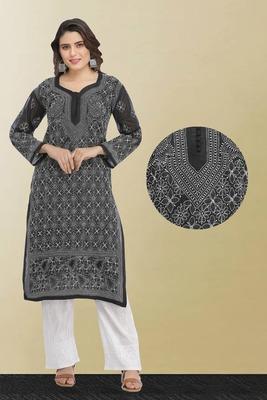 Ada Hand Embroidered Black Cotton Lucknow Chikan Kurti