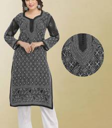 Ada Hand Embroidered Black Cotton Lucknow Chikan Kurti