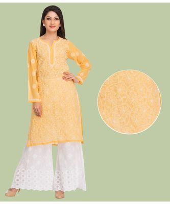 Yellow Hand Embroidred Faux Georgette Lucknow Chikankari Kurti