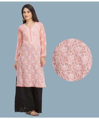Ada Hand Embroidered Peach Faux Georgette Lucknow Chikankari Kurti