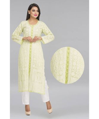 Ada green faux georgette Hand embroidered  lucknowi chikankari kurti