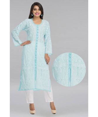Ada Blue Faux Georgette Embroidered Lucknow Chikankari Kurti