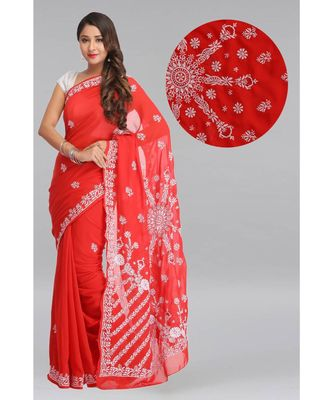 Ada hand embroidered red faux georgette lucknow chikankari saree with blouse