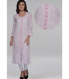 Ada Pink Hand Embroidered Georgette Chikankari Kurti