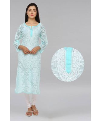 Ada Green Hand Embroidered Chikan Georgette Kurti