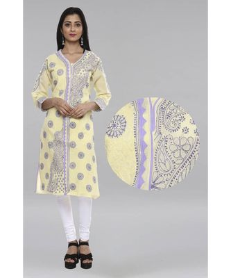 Ada Lemon Hand embroidered Chikankari cotton kurtis