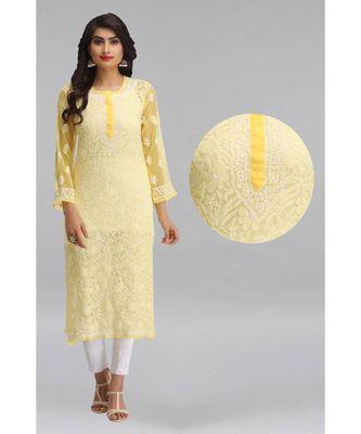 Ada Yellow Hand embroidered Chikankari georgette kurtis