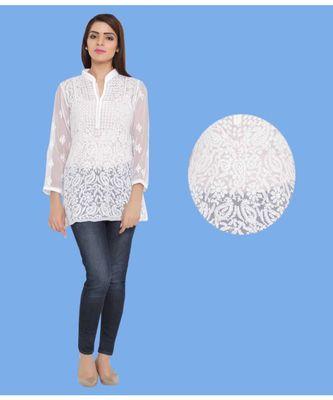 White embroidered faux georgette chikankari-Short kurtis
