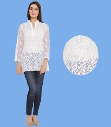 White embroidered faux georgette chikankari-Short kurtis