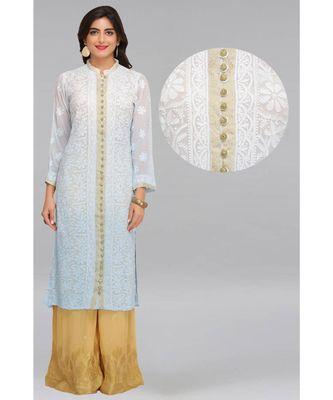 Blue Embroidered Faux Georgette Chikankari Kurti