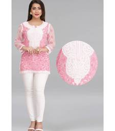 Ada Pink  embroidered georgette chikankari short-kurtis