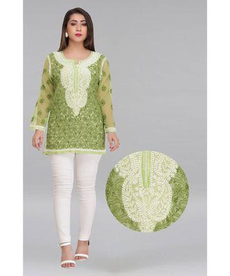 Green embroidered faux georgette chikankari-Short kurtis