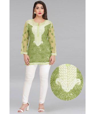Ada Green Embroidered Chikankari Georgette Short Kurti