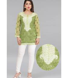 Ada Green Embroidered Chikankari Georgette Short Kurti