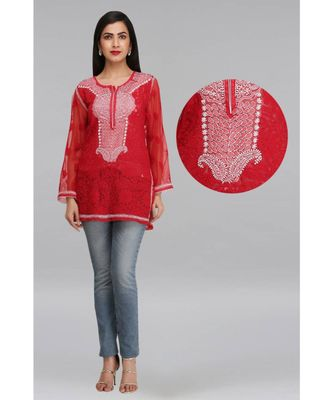 Ada Red Embroidered Georgette Chikankari Short Kurti