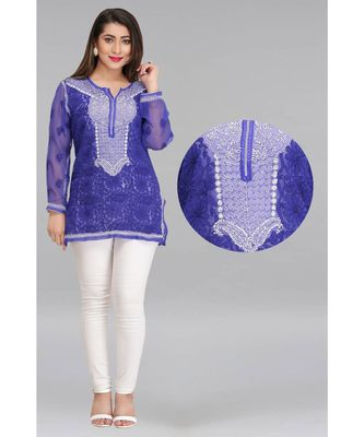 Blue embroidered faux georgette chikankari-kurtis