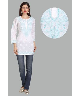 Ada White Embroidered Chikankari Cotton Short Kurti