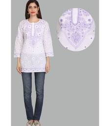Ada White Embroidered chikankari cotton short-kurtis