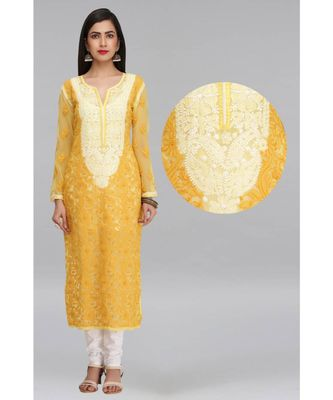 Yellow Embroidered Georgette Chikankari Kurti