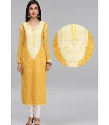 Yellow embroidered georgette chikankari-kurtis