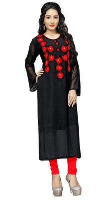 Justkartit Women'S Casual Wear Georgette Embroidery Kurti Top