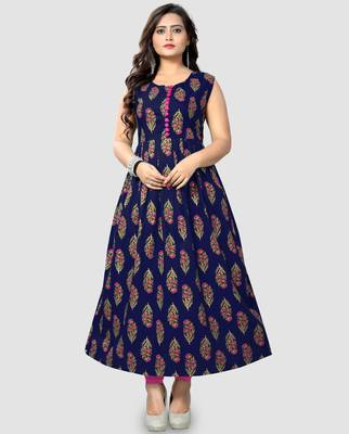 Dark-blue printed cotton cotton-kurtis