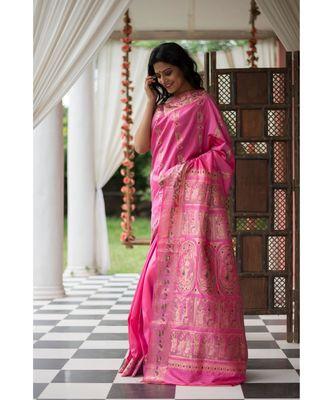 Pink Stunning baluchari saree in fuscia with silver zari and meenakari work