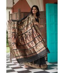 Black Stunning baluchari saree in black with golden zari and meenakari work