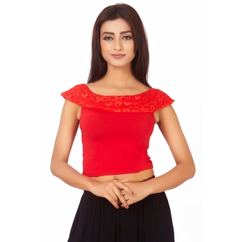 Red Colour Cotton Spandex Free Size Blouse for Women.