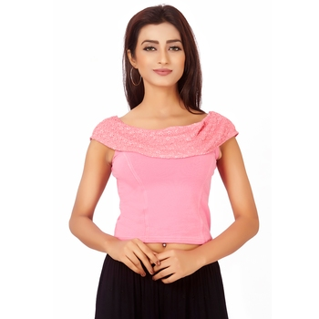 Pink Colour Cotton Spandex Free Size Blouse for Women.