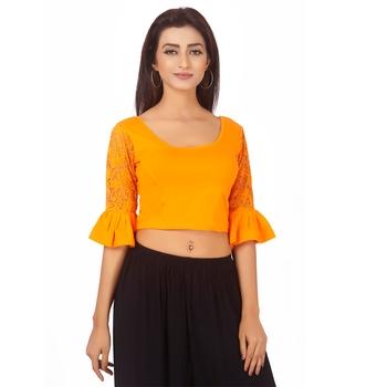 Yellow Colour Cotton Spandex Free Size Blouse for Women.