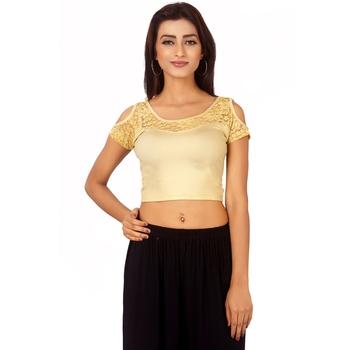 Beige Colour Cotton Spandex Free Size Blouse for Women.