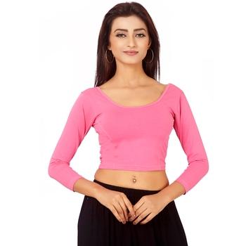 Pink Colour Cotton Spandex Free Size Blouse for Women.